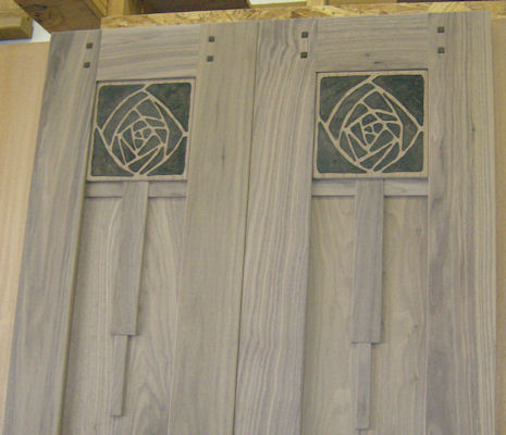Some Examples Of Custom Details Which Are Available : Left: Relief Carved A  U0026 C Rose Panels U0026 Right : Bookmatched Quarter Sawn Sycamore Panels