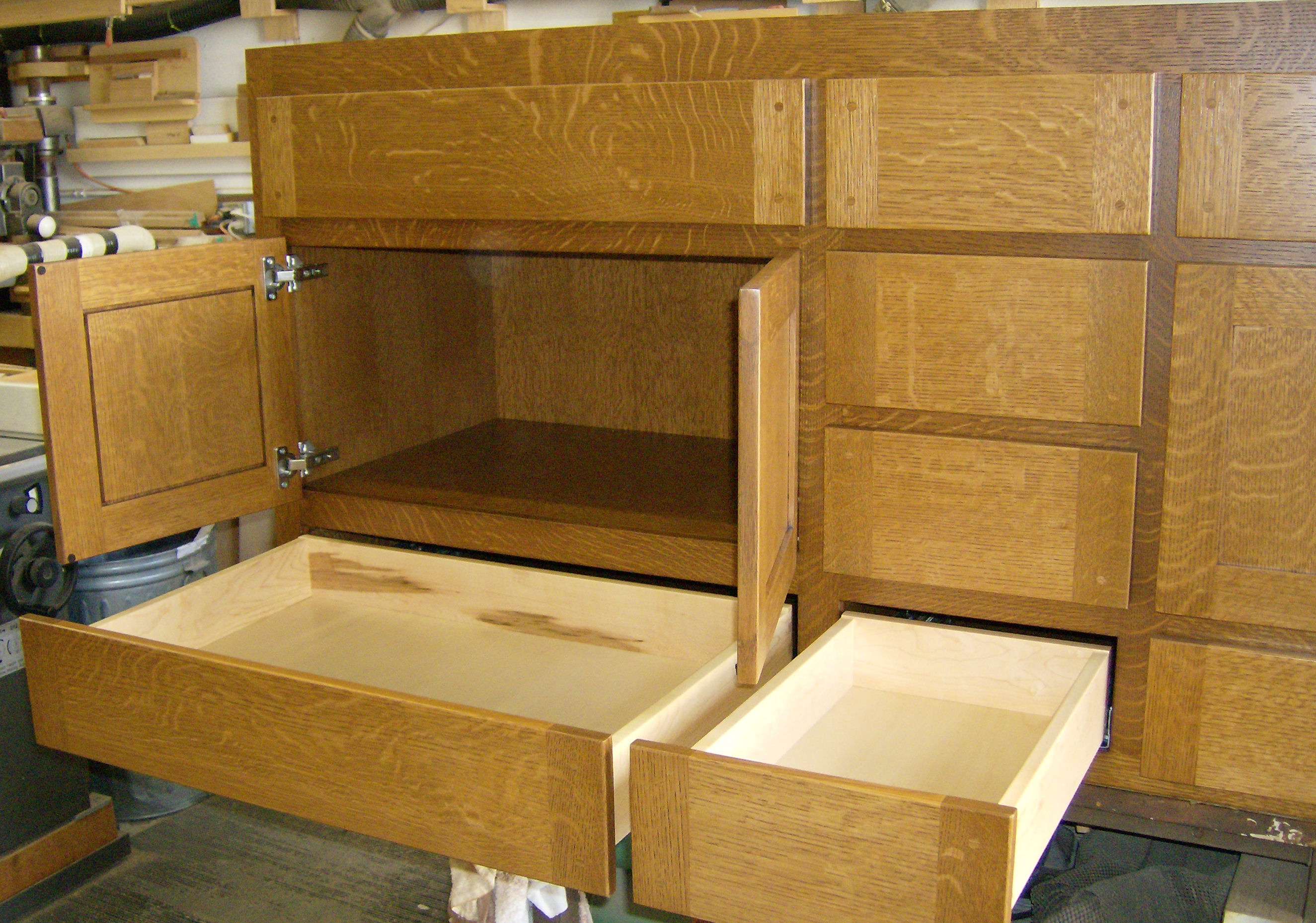 Craftsman style built in cabinets - Custom Furniture Grade Vanity Cabinet In Quarter Sawn White Oak Built To Fit Exact Opening And Furnished Pre Finished Dovetailed Solid Maple Drawers And