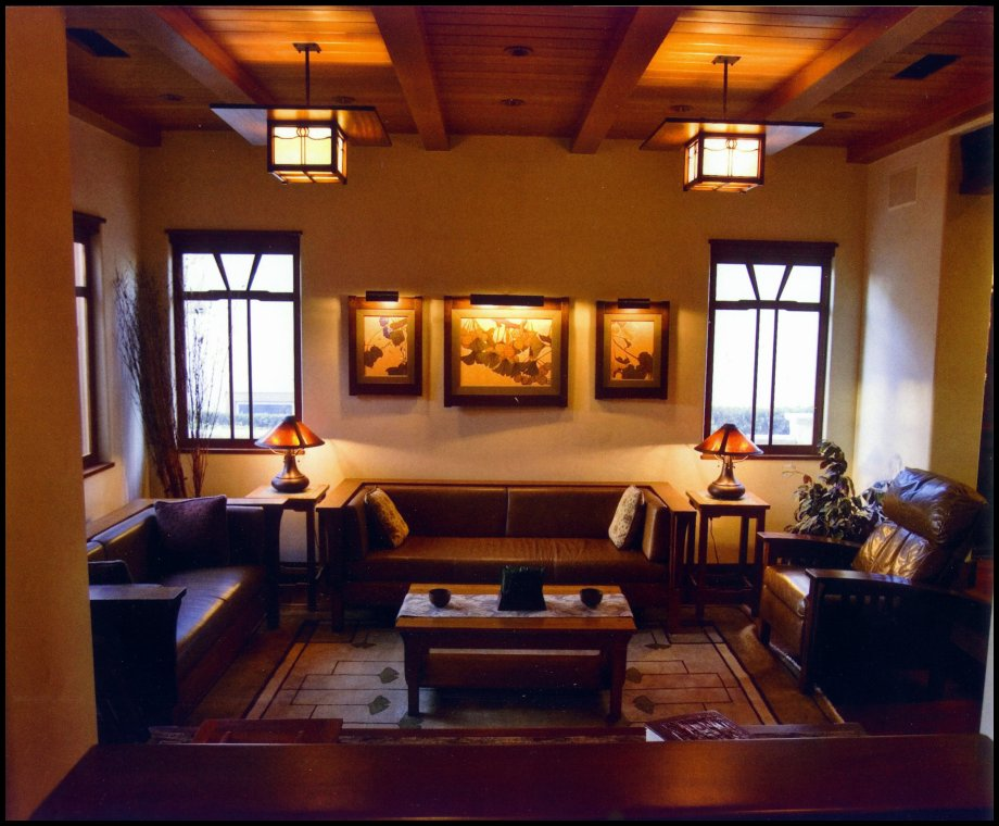 arts and crafts style living room living room from entry