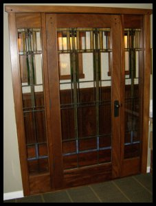 Single lite French door with with sidelites and FLW inspired leaded glass