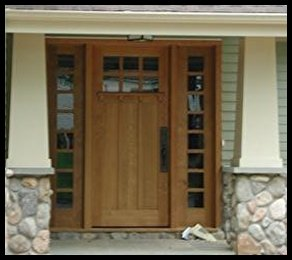 Classic Craftsman 6 lite over 3 panel Ehtry door with divided sidelites.