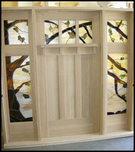 Classic Craftsman 3 lite over 3 panel door with 2 lite sidelites
