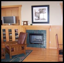 Craftsman style fireplace surround, Entertainment alcove and wainscot